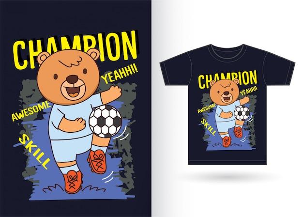 Dessin animé ours jouant au football pour t-shirt Vecteur Premium