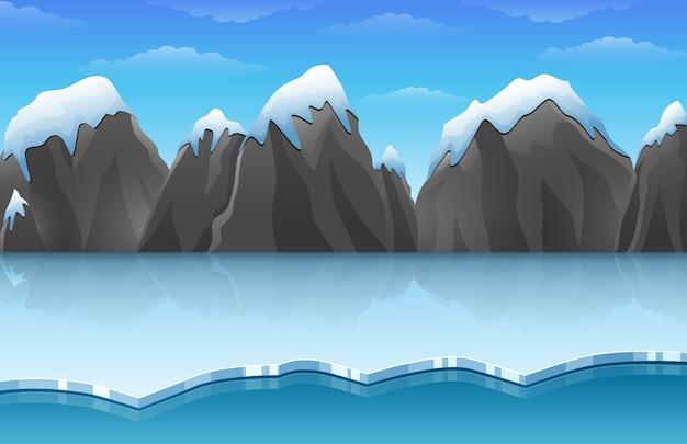 Dessin animé paysage de glace arctique hiver Vecteur Premium