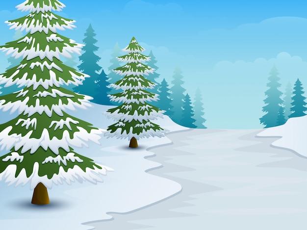 Dessin anim de paysage d 39 hiver avec sol enneig et sapins t l charger des vecteurs premium - Paysage enneige dessin ...