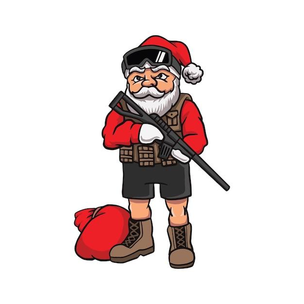 Dessin Animé, Père Noël, Dans, équipement Militaire Vecteur Premium