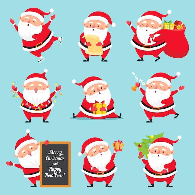 Dessin Animé Père Noël Ensemble Télécharger Des Vecteurs