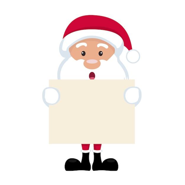 Dessin Animé De Père Noël Tenant Affiche Vierge