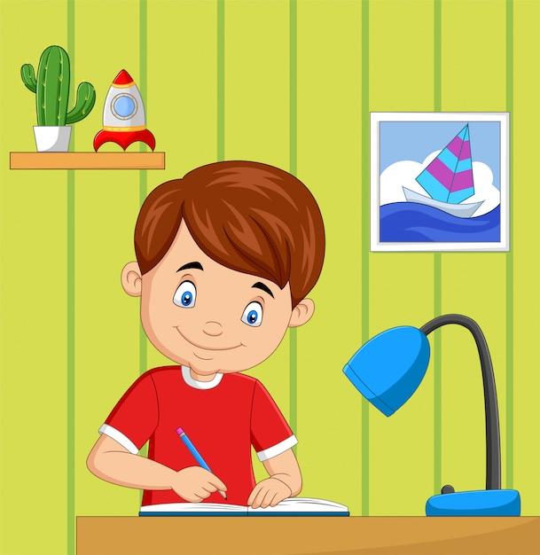 Dessin Animé, Petit Garçon, étudier, Dans Salle Vecteur Premium