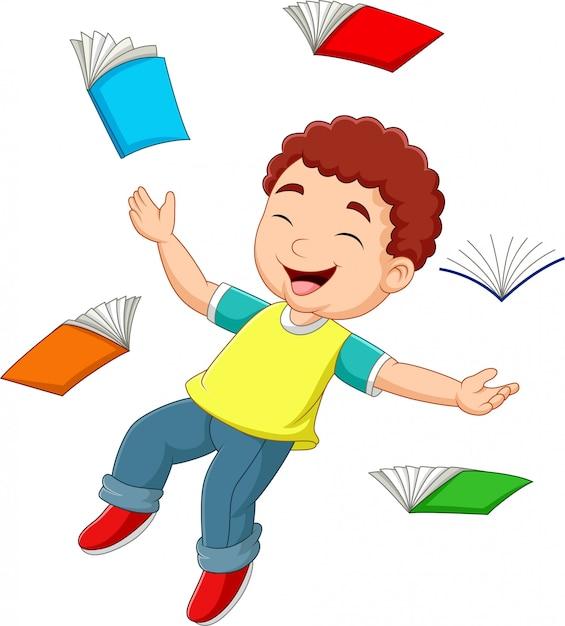 Dessin animé petit garçon volant entouré de livres Vecteur Premium