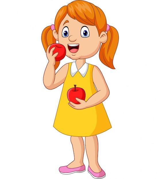 Dessin Animé Petite Fille Mange Des Pommes Télécharger Des