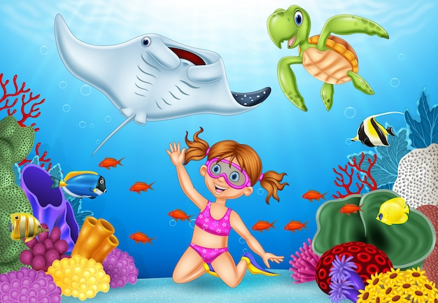 Dessin animé petite fille plongée en mer tropicale sous-marine Vecteur Premium