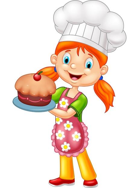 Dessin Animé Petite Fille Tenant Gâteau Télécharger Des