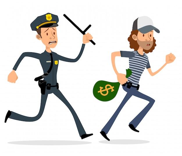 Dessin Animé Plat Policier Et Voleur Personnages Vecteur Premium