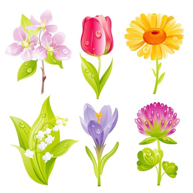 Dessin Animé Printemps Fleurs Icon Set Télécharger Des