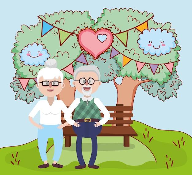 Dessin animé de relation amoureuse de grands-parents Vecteur Premium