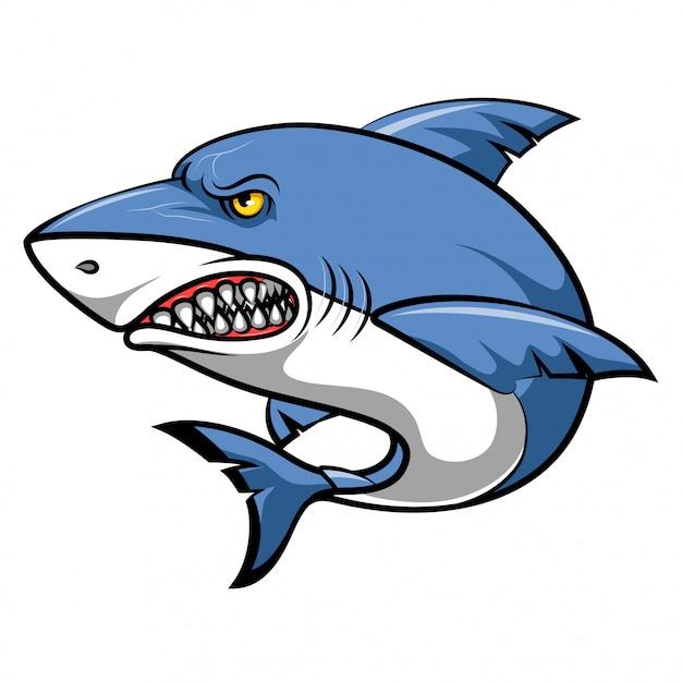 Dessin animé de requin en colère Vecteur Premium