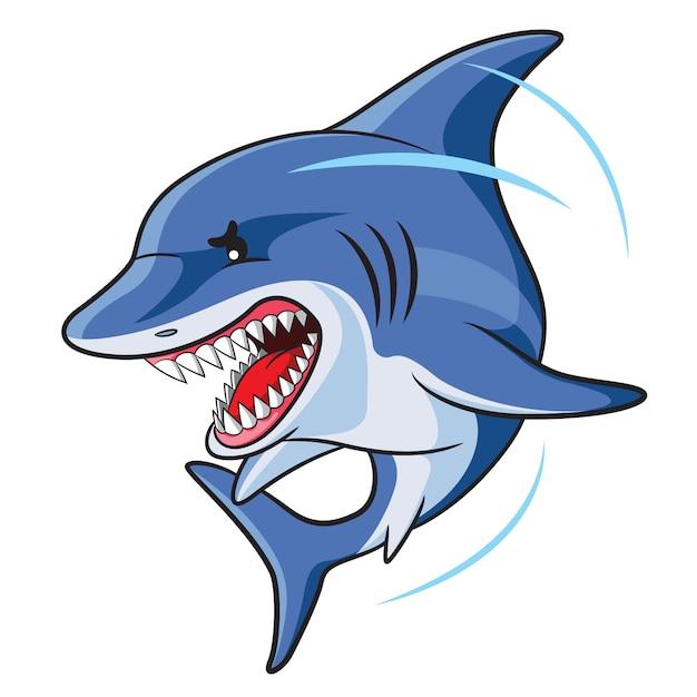 Dessin animé de requins en colère Vecteur Premium
