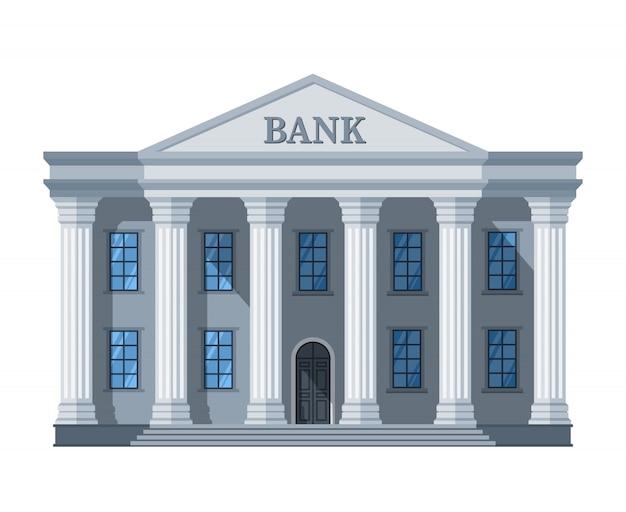 Dessin Animé Rétro Banque Ou Palais De Justice Avec Illustration De Colonnes Isolée Sur Blanc Vecteur Premium