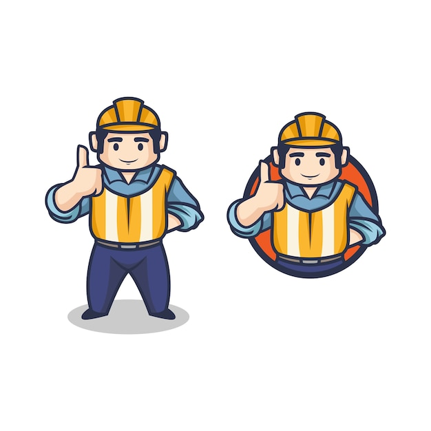 Dessin Animé Rétro Entrepreneur Vintage Ou Ouvrier Du Bâtiment Faisant Le Logo De Mascotte De Personnage De Pouce En L'air. Vecteur Premium