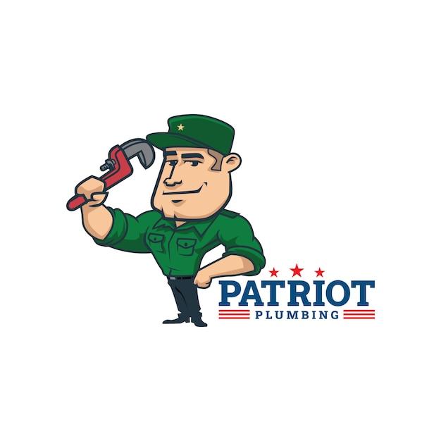 Dessin Animé Rétro Mascotte De Patriote Plomberie Vintage Logo Ou Logo Patriote Vecteur Premium