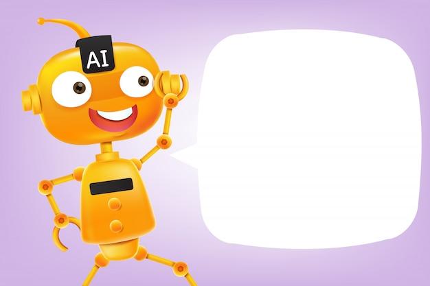 Dessin animé robot ai Vecteur Premium