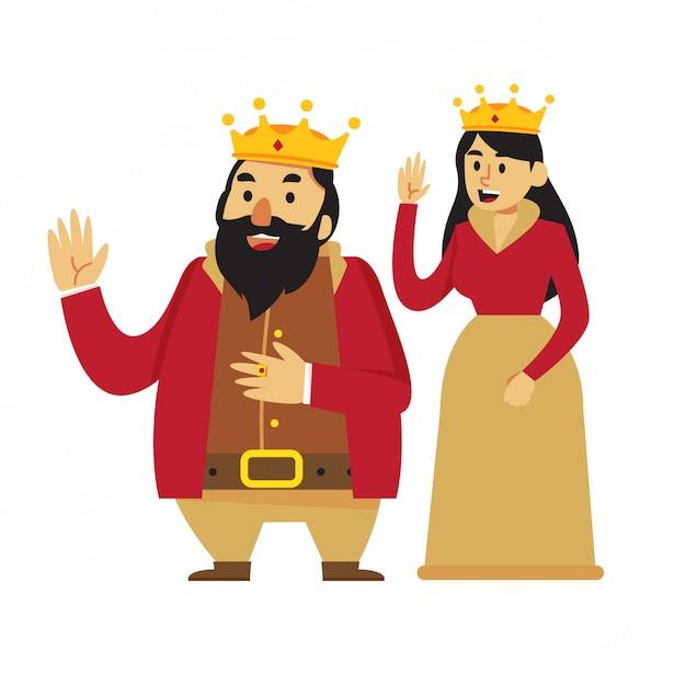 Dessin animé roi et reine Vecteur Premium
