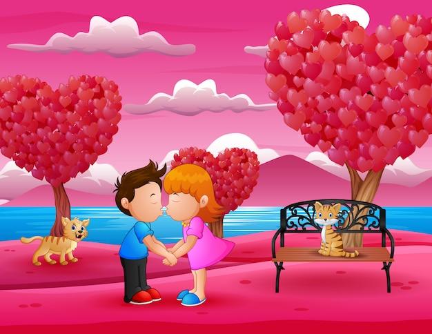 Dessin animé romantique couple s'embrassant dans un magnifique jardin rose Vecteur Premium