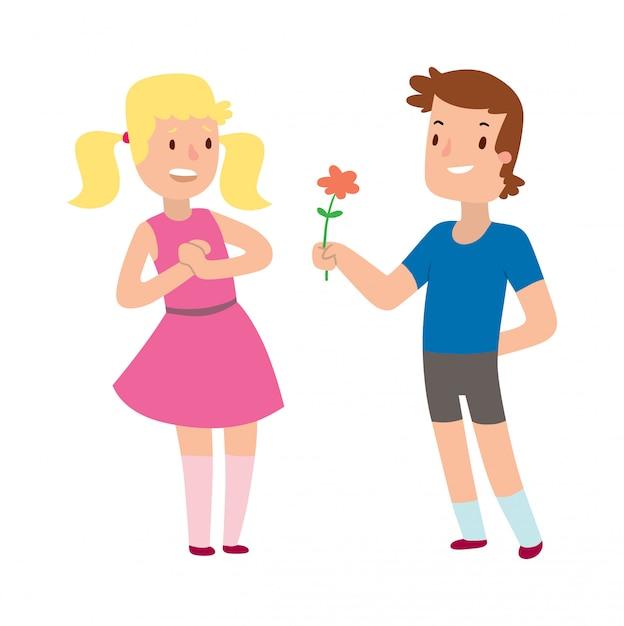 Dessin Animé Romantique Garçon Et Fille Donnant Une Fleur D