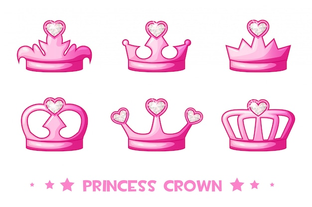 Dessin Animé Rose Couronne De Princesse, Définir Des Icônes. Illustration Vectorielle Mignon Pour Les Filles Vecteur Premium
