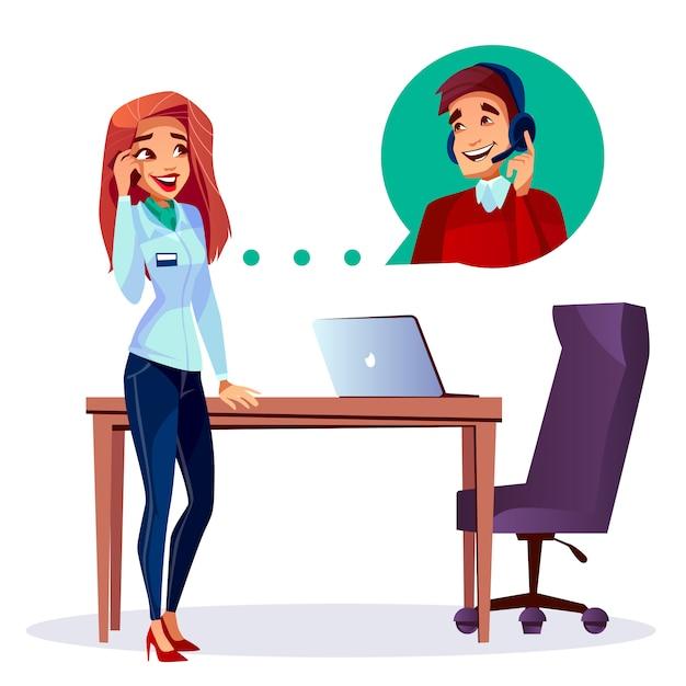 Dessin animé satisfait client appelant l'utilisateur opérateur de l'opérateur d'assistance téléphonique dans l'oreillette. Vecteur gratuit