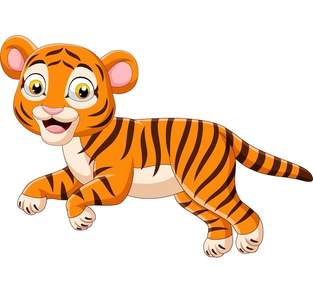 Dessin animé sautant bébé tigre isolé sur fond blanc Vecteur Premium