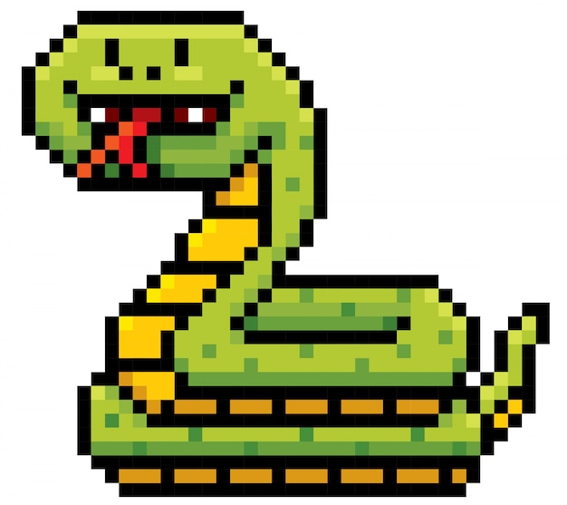 Dessin animé serpent pixel design Vecteur Premium
