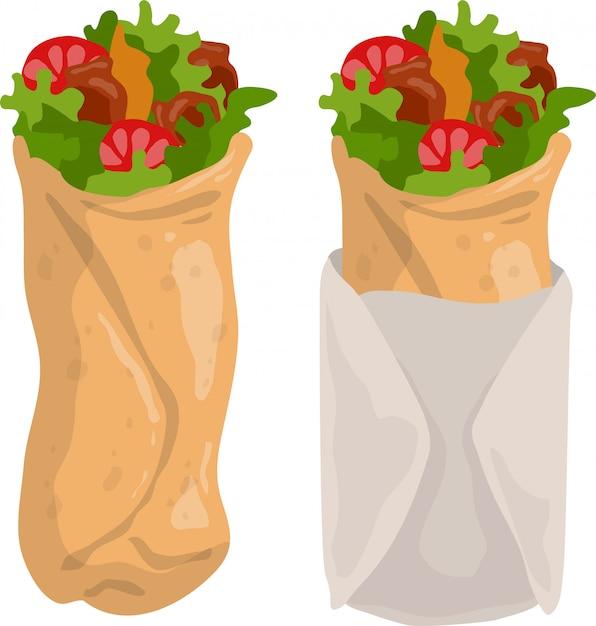 Dessin Animé Shawarma Burrito Ou Kebab Vecteur Premium