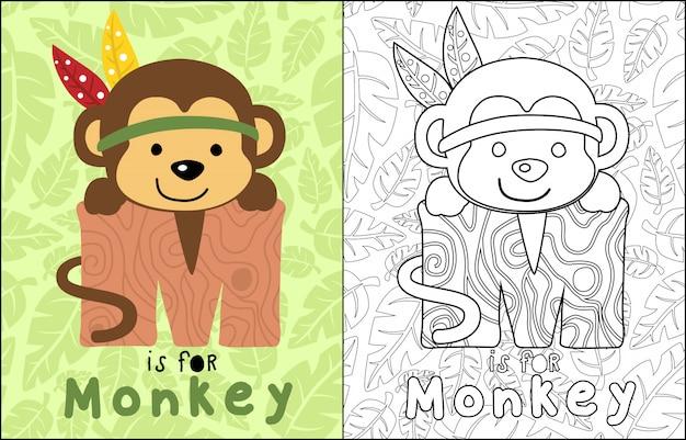 Dessin animé de singe sur modèle de feuilles sans soudure Vecteur Premium