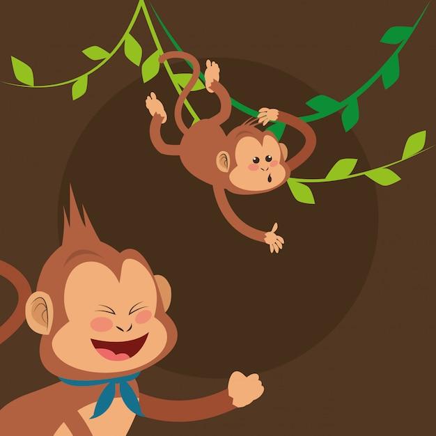 Dessin animé de singes jungle Vecteur Premium