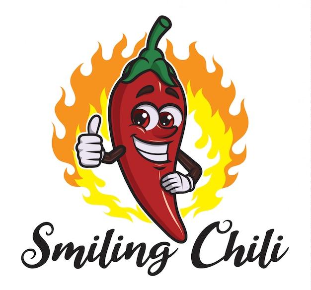 Dessin animé, sourire, chili Vecteur Premium