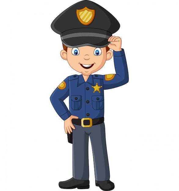 Dessin Animé, Sourire, Officier, Policier, Debout Vecteur Premium