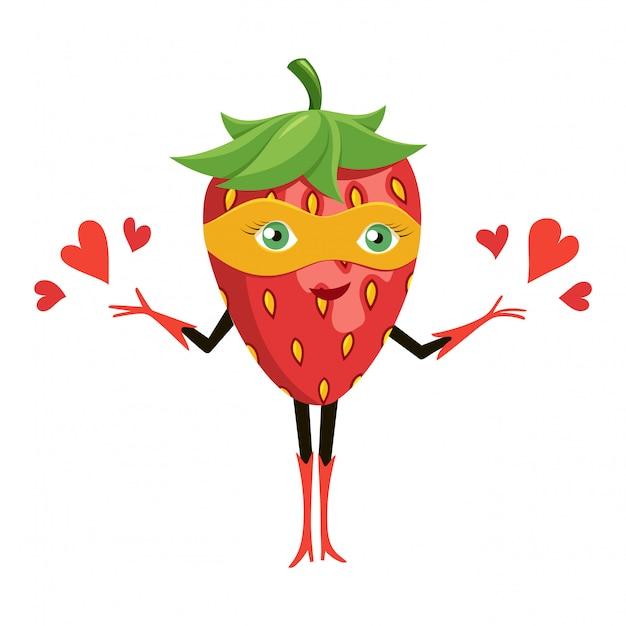 Dessin animé super-fraise au masque orange Vecteur Premium