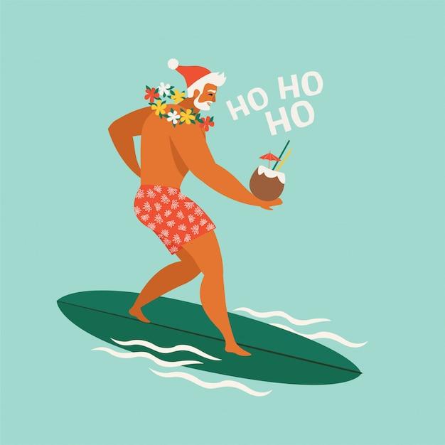 Dessin animé surfeur santa claus Vecteur Premium