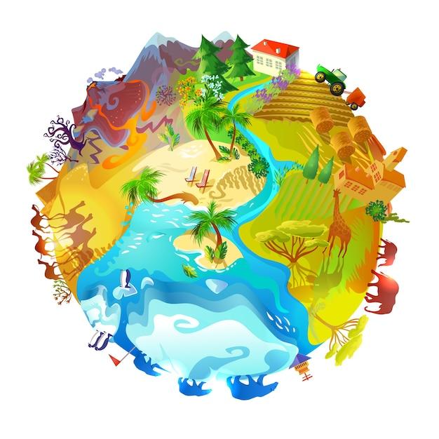Dessin Animé, Terre, Planète, Nature, Concept Vecteur gratuit