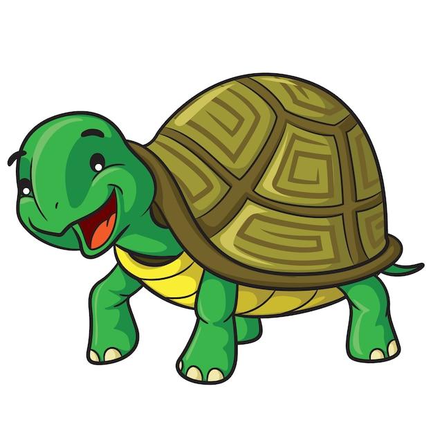 Dessin animé tortue Vecteur Premium