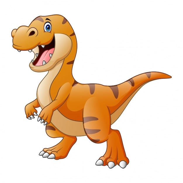 Dessin Animé Un Tyrannosaure Dinosaure Heureux Vecteur Premium