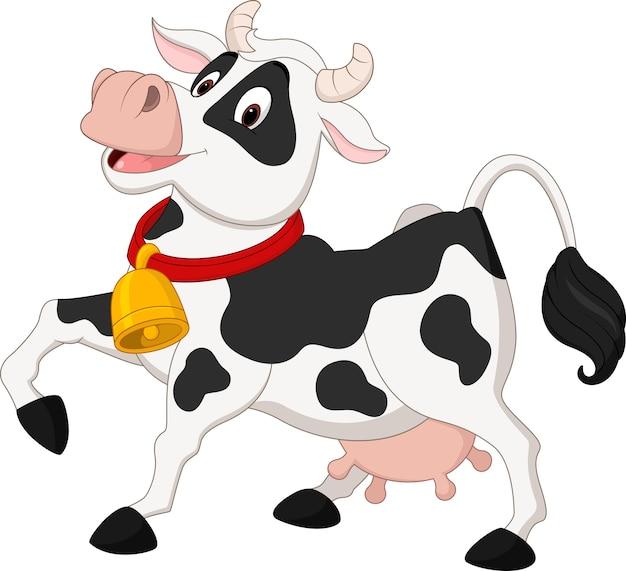 Dessin animé de vache heureuse Vecteur Premium