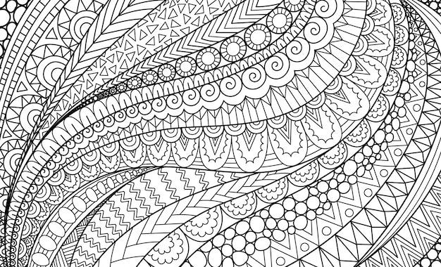 Dessin Au Trait Abstrait Pour Le Fond Livre De Coloriage Pour Adultes Illustration De Coloriage Vecteur Premium
