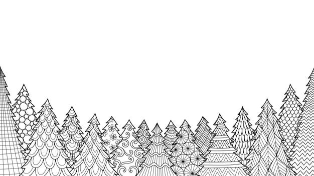 Dessin Au Trait D'arbre De Noël Isolé Sur Fond Blanc Pour Livre De Coloriage, Coloriage Ou Impression Sur Des étoffes. Vecteur Premium