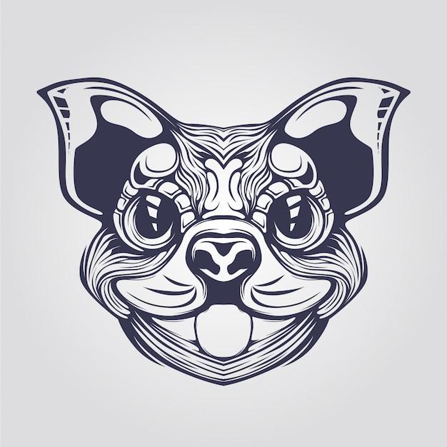 Dessin au trait de chien cihuahua Vecteur Premium