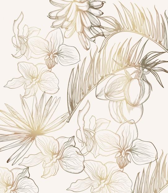 Dessin au trait de fleurs tropiques dorées. décorations florales d'été Vecteur Premium