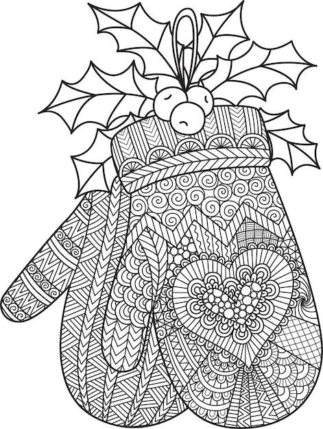 Dessin Au Trait De Gant De Noël Suspendu Pour Livre De Coloriage, Coloriage Ou Impression Sur Le Produit. Illustration Vecteur Premium