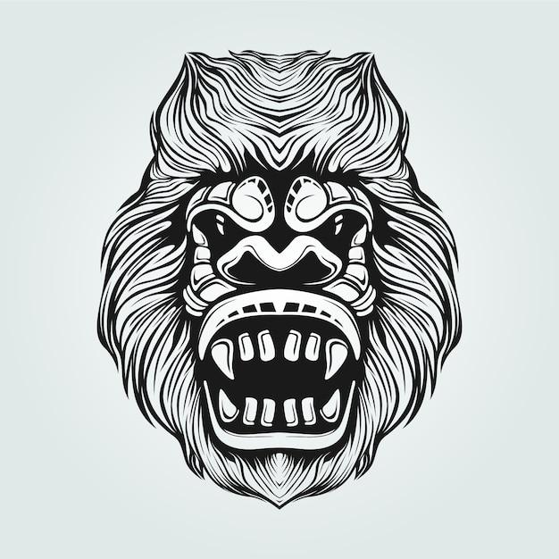 Dessin au trait gorille noir et blanc avec face décorative Vecteur Premium