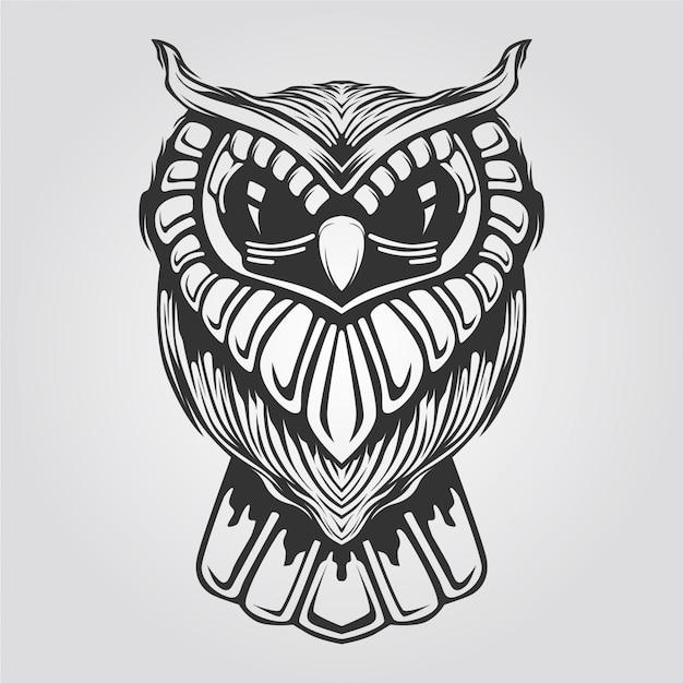 Dessin Au Trait Hibou Noir Et Blanc Pour Livre De Tatouage