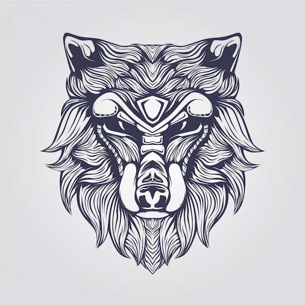 Dessin au trait de loup avec visage décoratif Vecteur Premium