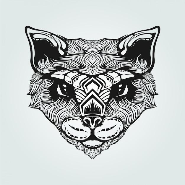 Dessin au trait noir et blanc du chat Vecteur Premium
