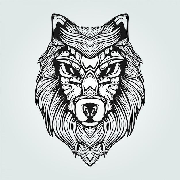 Dessin au trait noir et blanc de loup avec visage décoratif Vecteur Premium