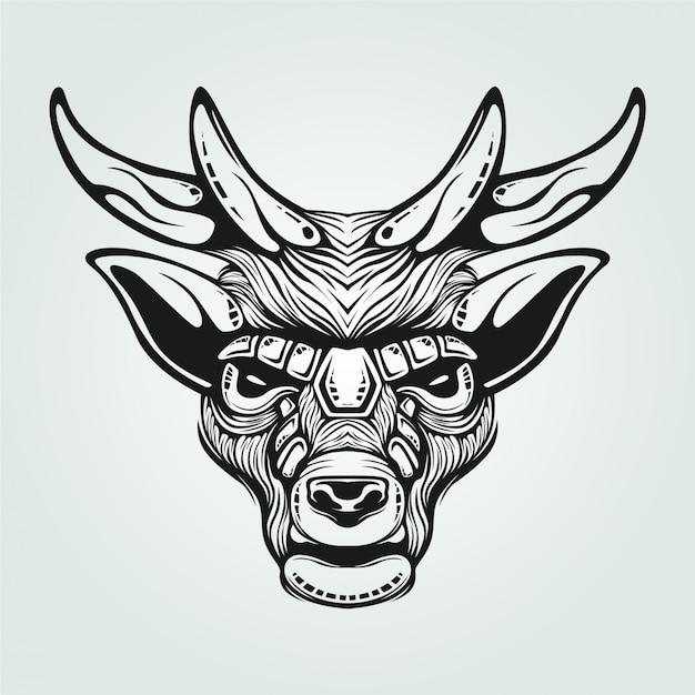 Dessin au trait noir et blanc de renne avec une face décorative Vecteur Premium