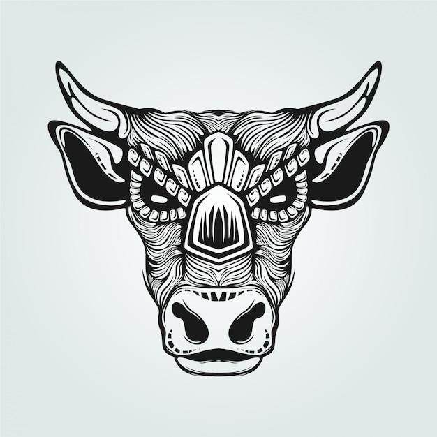 Dessin au trait noir et blanc de vache Vecteur Premium